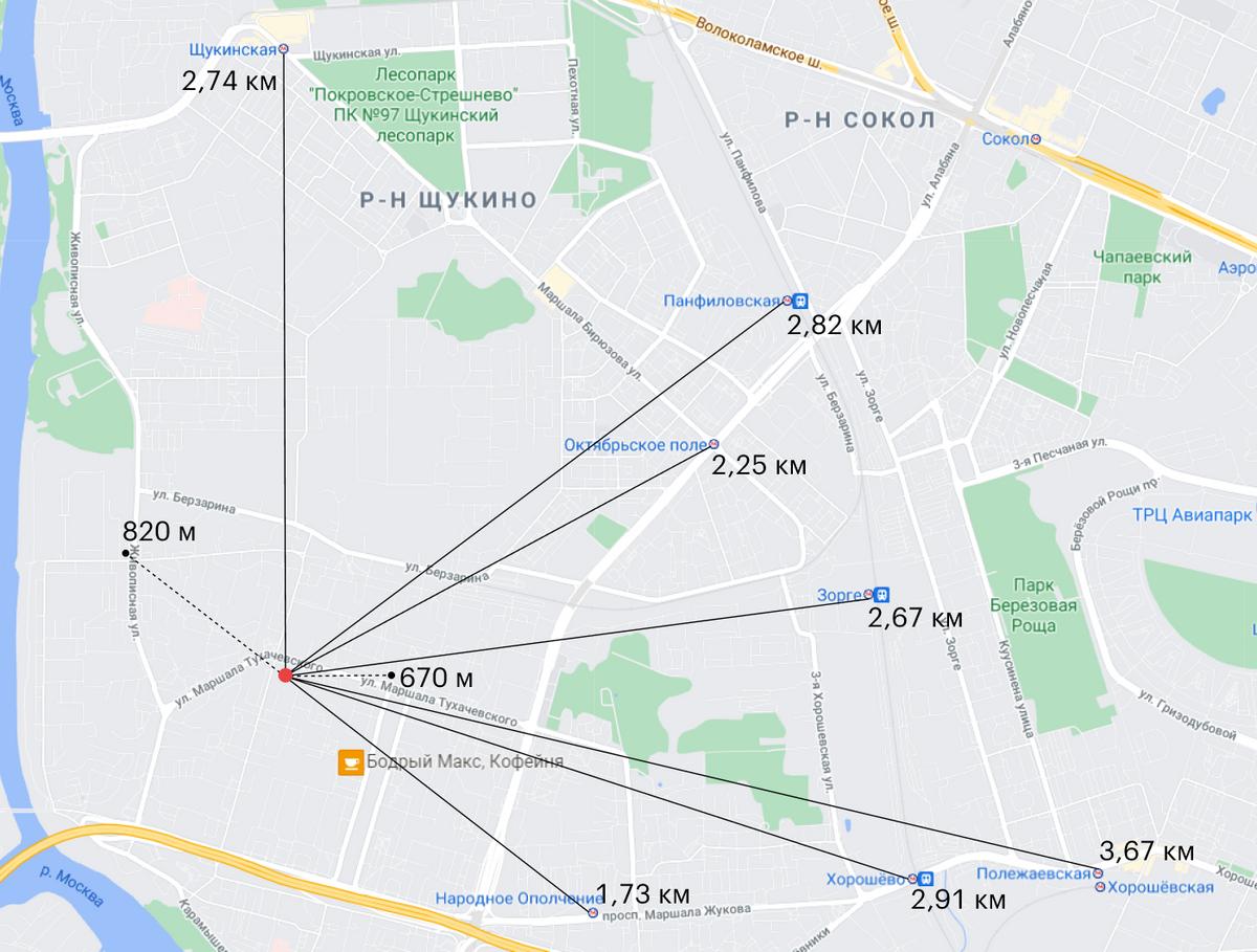 Пока от моего дома до действующих станций 1,73—2,74 км. А новые будут гораздо ближе — расстояние до них я отметил пунктиром