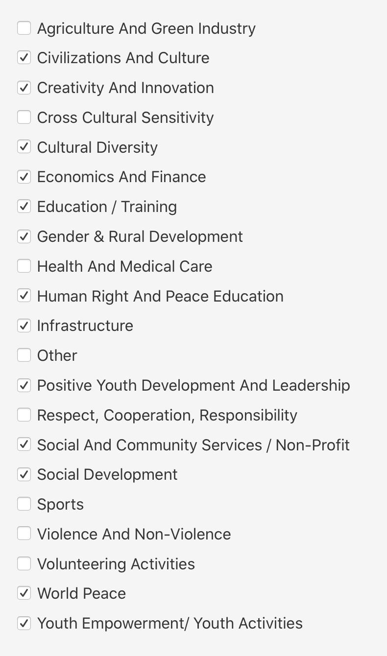 Перечень интересов из анкеты. Как я понял, чем больше отметите, тем выше шансы на участие. У меня получилось13 из21