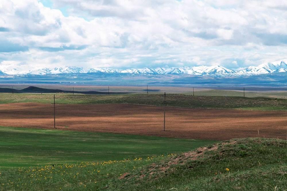 Казахские степи в районе города Кеген. Горы вдалеке — это уже граница с Киргизией