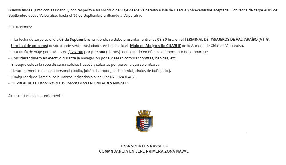 Письмо с инструкциями по погрузке на военный корабль «Акилес»