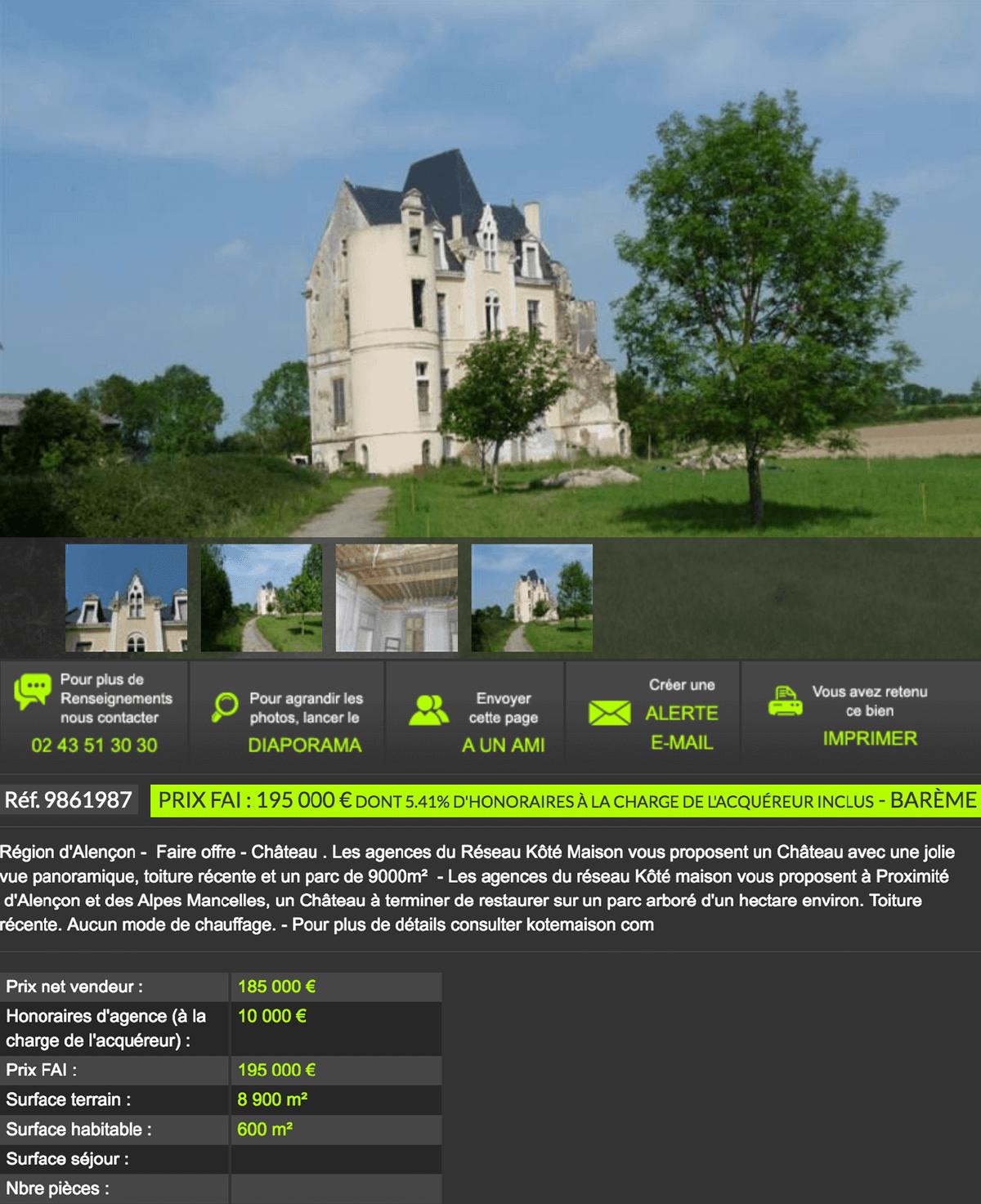 Замок жилой площадью 600 м² на участке 8900 м² продается за 195 000€, включая вознаграждение агентства