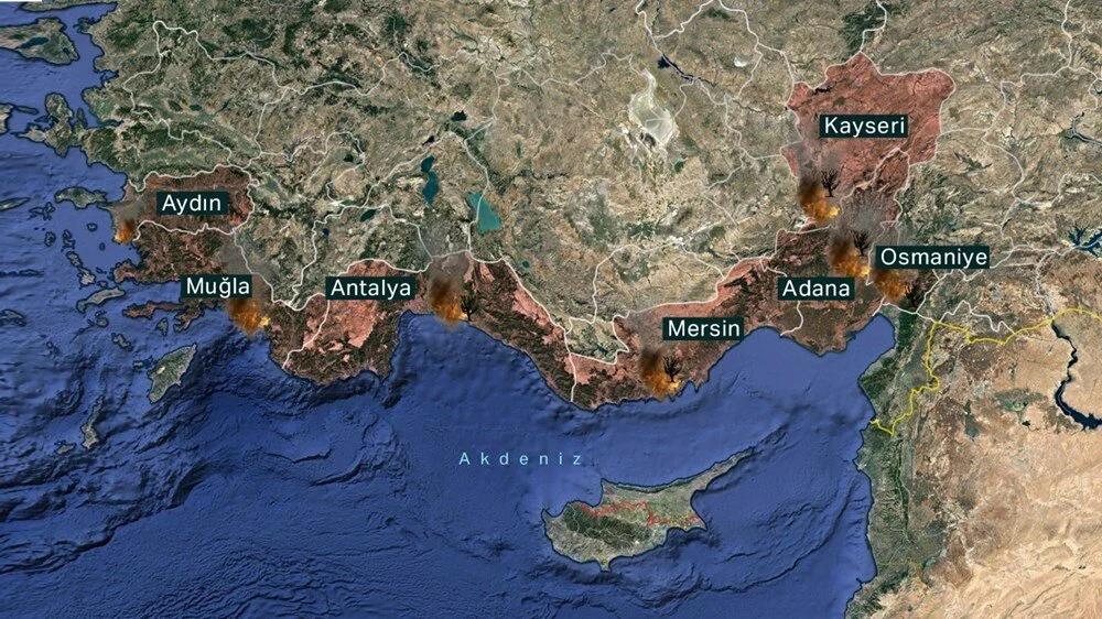 Карта распространения пожаров на территории Турции на 29 июля. Источник: NTV