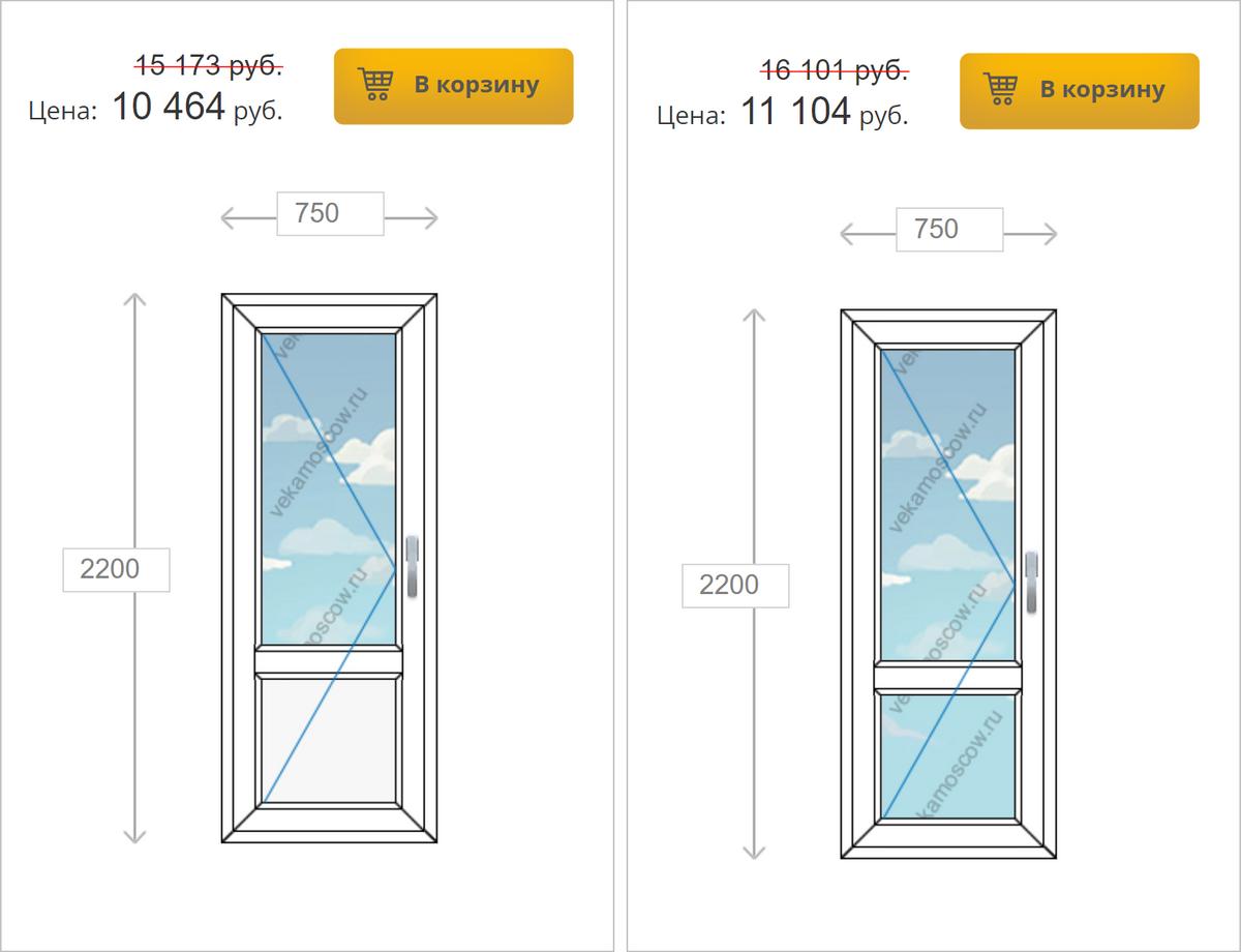 Дверь со стеклом дороже той, что с пластиком, на 500—700<span class=ruble>Р</span>. Источник: «Городские окна»