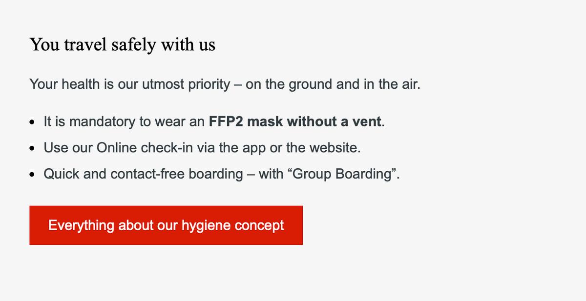 Часть инструкции, которую прислала авиакомпания. Здесь указан тип маски, в которой пустят в самолет. На официальном сайте сказано, что другие варианты масок тоже допускаются, но ябы не советовала проверять
