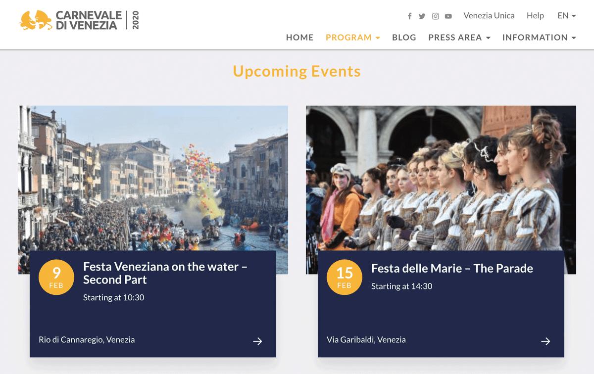На сайте карнавала есть календарь событий