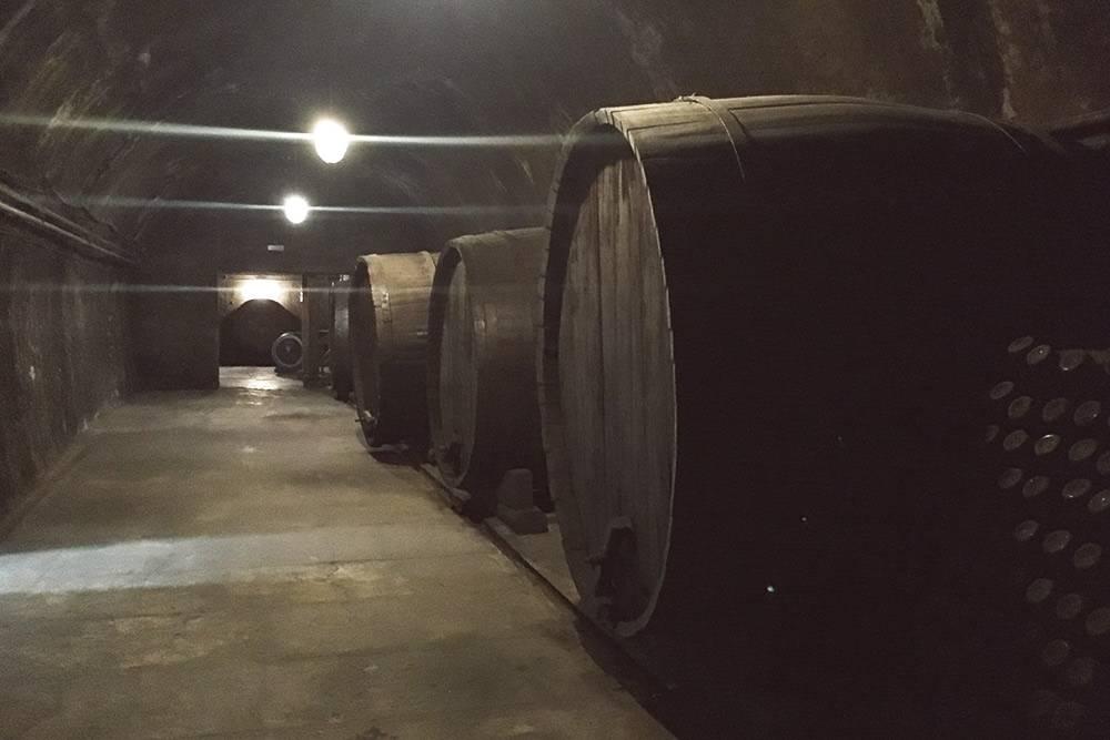 Эти старые бочки — музейные экспонаты. Сейчас вино выдерживают в новых, но таких же огромных. Чтобы сфотографировать пустой тоннель, нам пришлось отстать от группы. Потом мы чуть не заблудились
