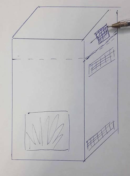 Отсекатель (пунктирная линия) делит короб камина по вертикали на два отсека. В нижнем вставляются по два больших продуха с каждой стороны, в верхнем — по одному маленькому с каждой стороны