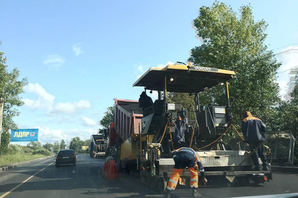 Ремонт дороги на Крестовском шоссе