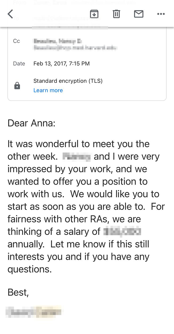На должности Research Analyst в Гарвардском университете мне предложили зарплату больше 50 000$ в год