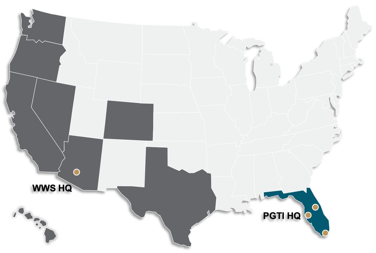Карта операционной деятельности компании. Синий — направление «юго-восток», серый — «запад», желтые точки — заводы. Источник: презентация компании, слайд 9