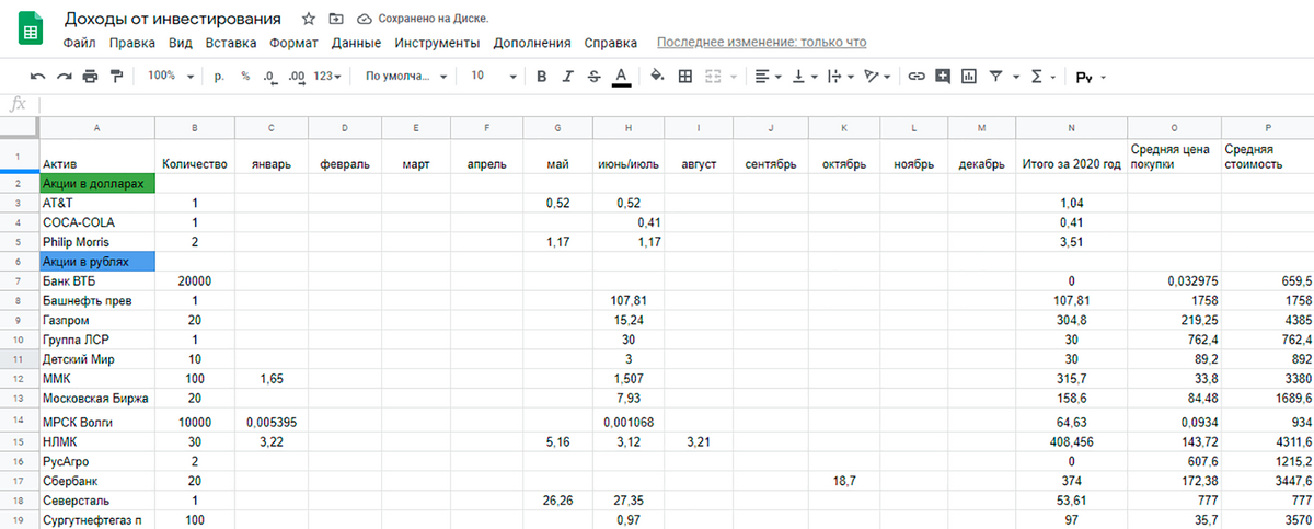 Я веду таблицу в «Экселе», где считаю потенциальную доходность портфеля. В этом году должна получить больше 3400<span class=ruble>Р</span> за год — это минимум 7,8% в рублях. Только, пожалуйста, не нужно комментировать, зачем я купила ту или иную бумагу и что нужно было бы сделать