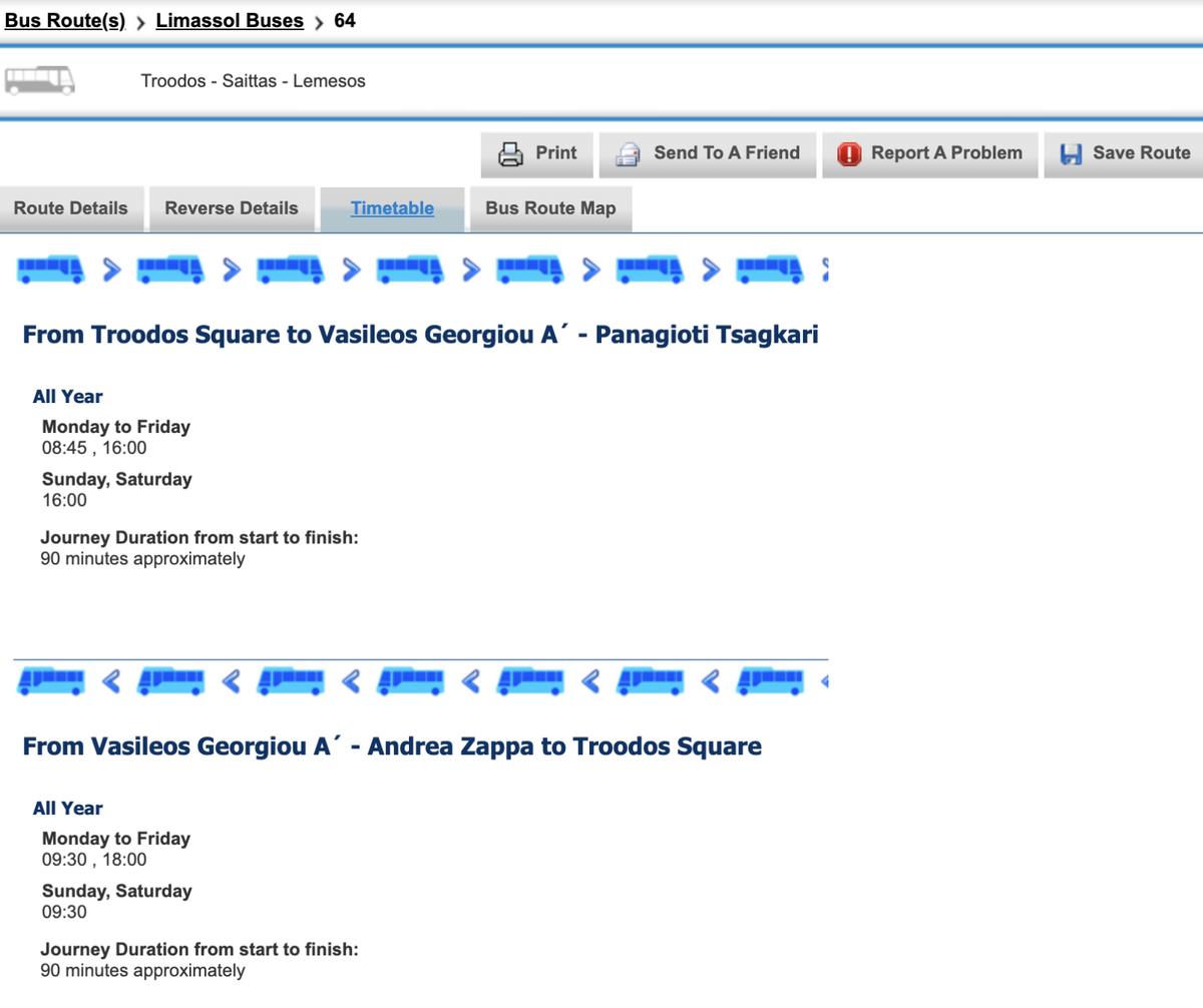 Расписание автобуса № 64, который ходит из Лимасола в горы Троодос. Источник: cyprusbybus.com