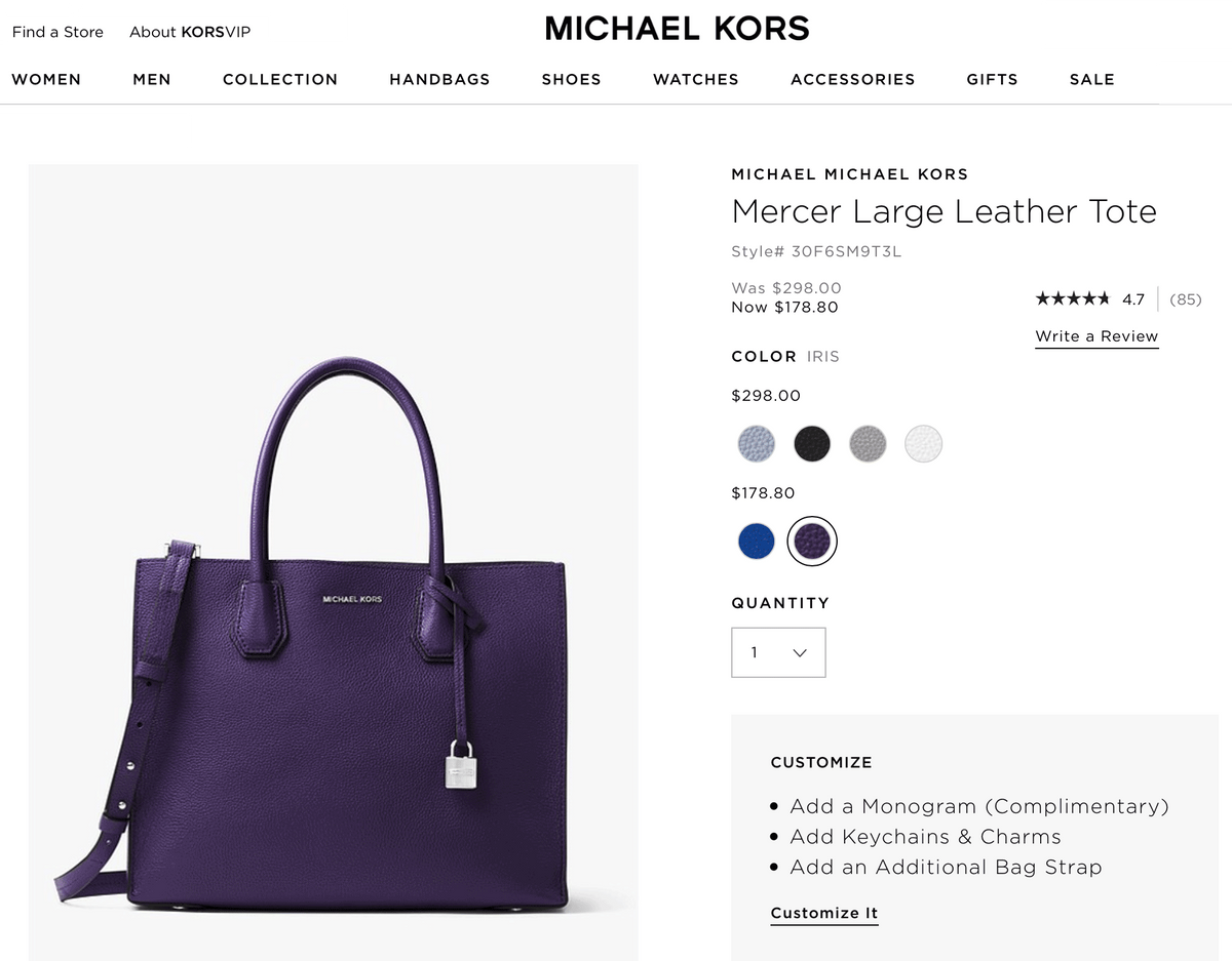 Та же сумка в официальном магазине «Майкл Корс» еще дешевле