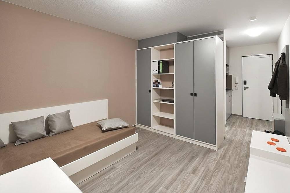 В частном общежитии тоже отличные условия, но цена — вдвое выше. Источник:  smartments-student.de