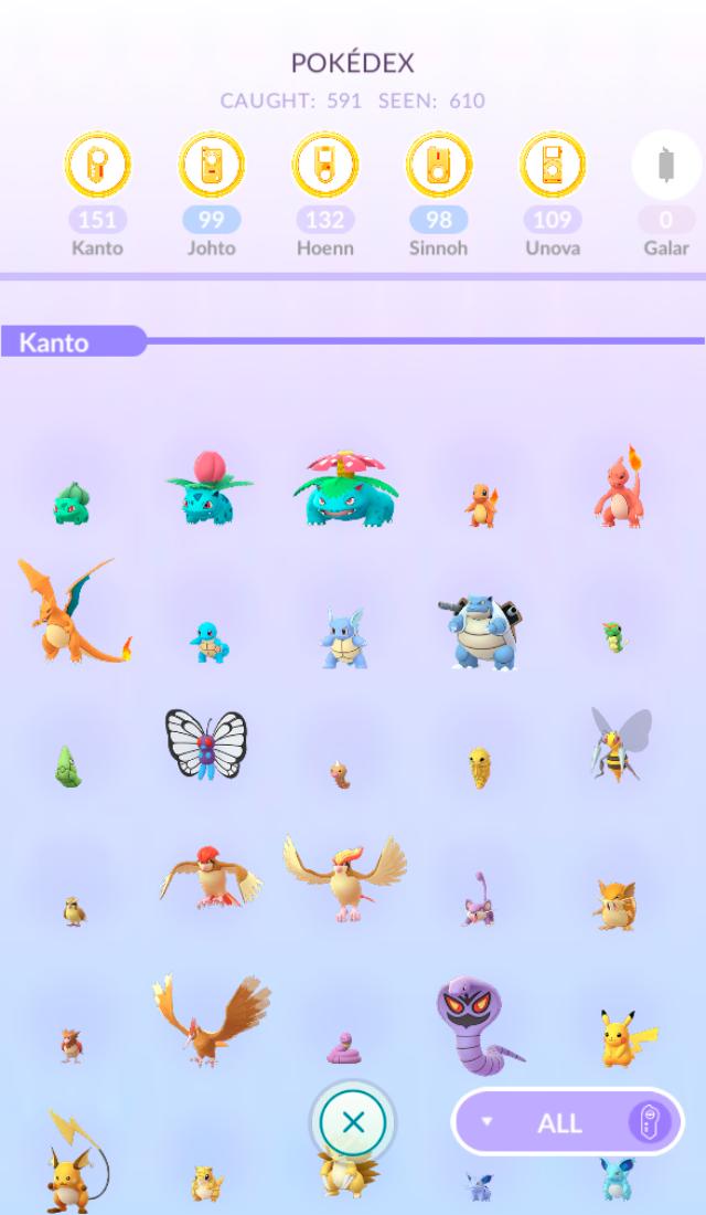 В покедексе отображены все пойманные игроком покемоны. Золотой цвет медалей означает, что я поймала большую часть покемонов в этом поколении