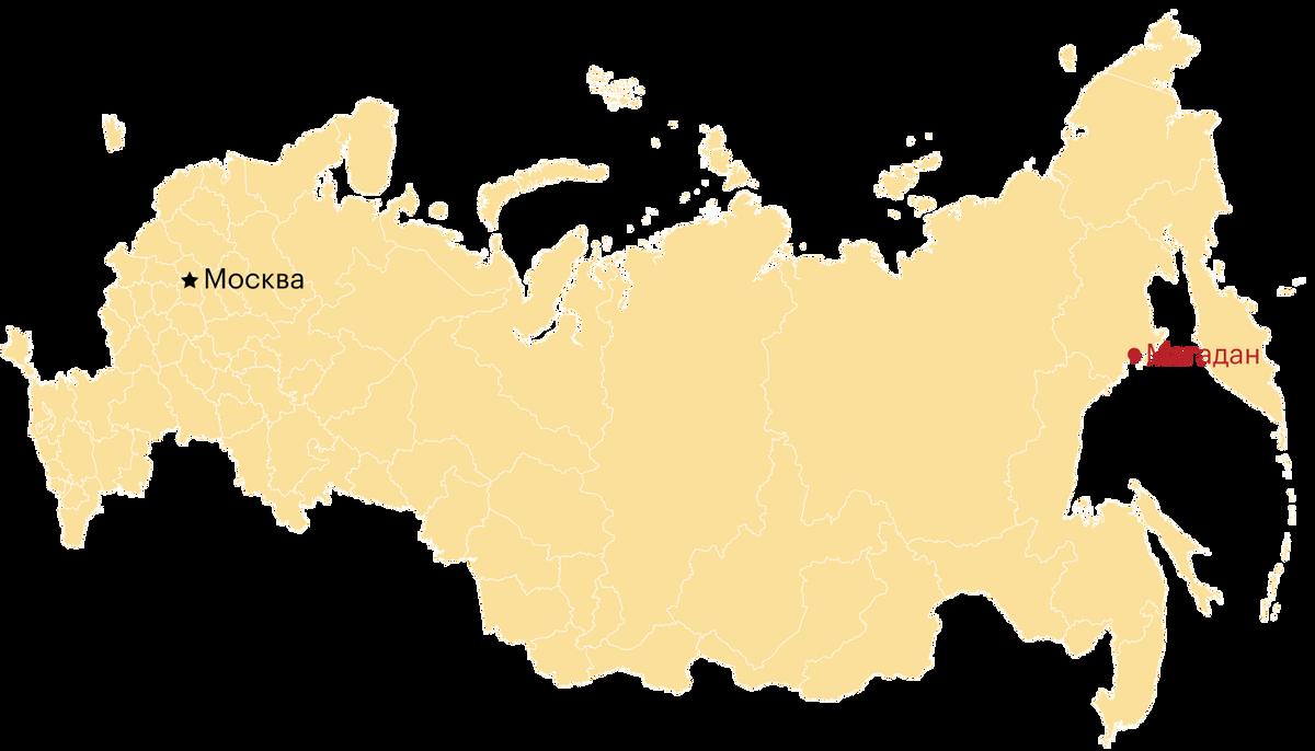 Магадан на карте России