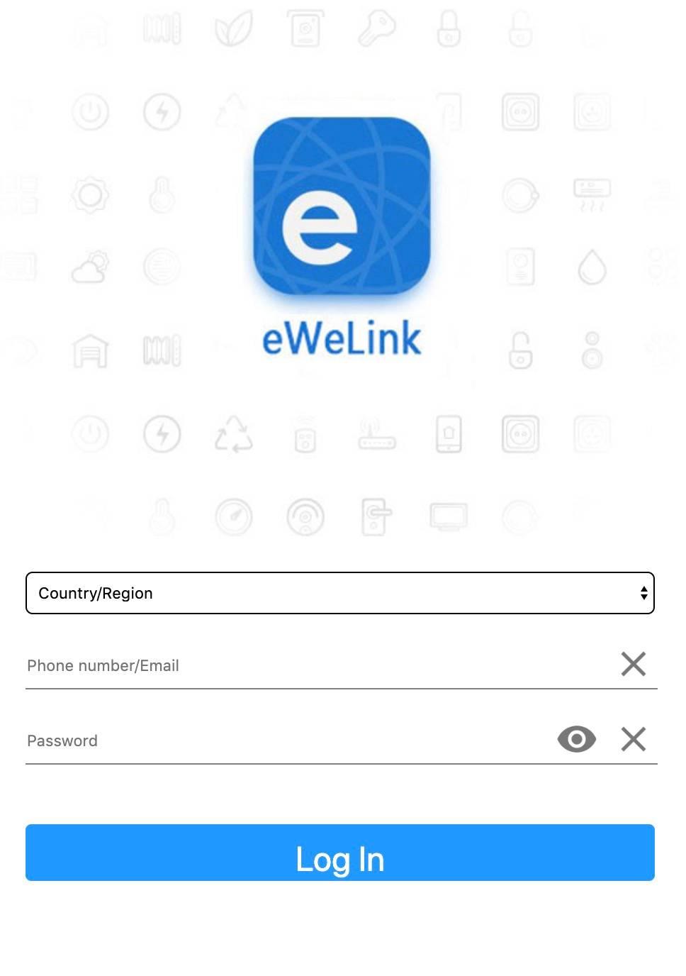 Шаг 4. Вводим логин и пароль от учетной записи eWeLink — она создается при добавлении устройств Sonoff в приложении eWeLink