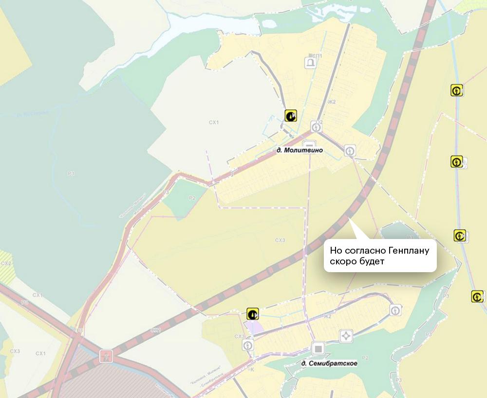 Но на карте генплана видно, что между этими деревнями вскоре пройдет трасса федерального значения. Это снижает цену участка до 70 000—80 000<span class=ruble>Р</span> за сотку