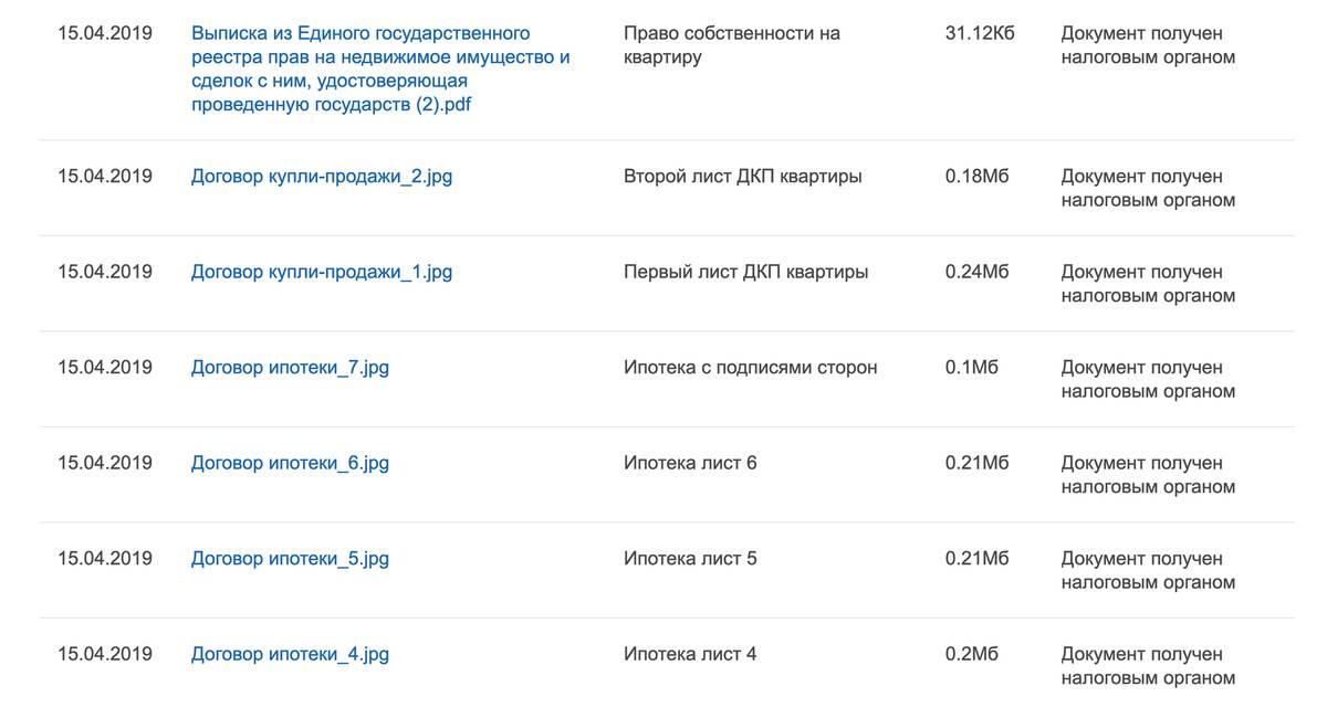 Список всех документов будет виден в личном кабинете после отправки декларации