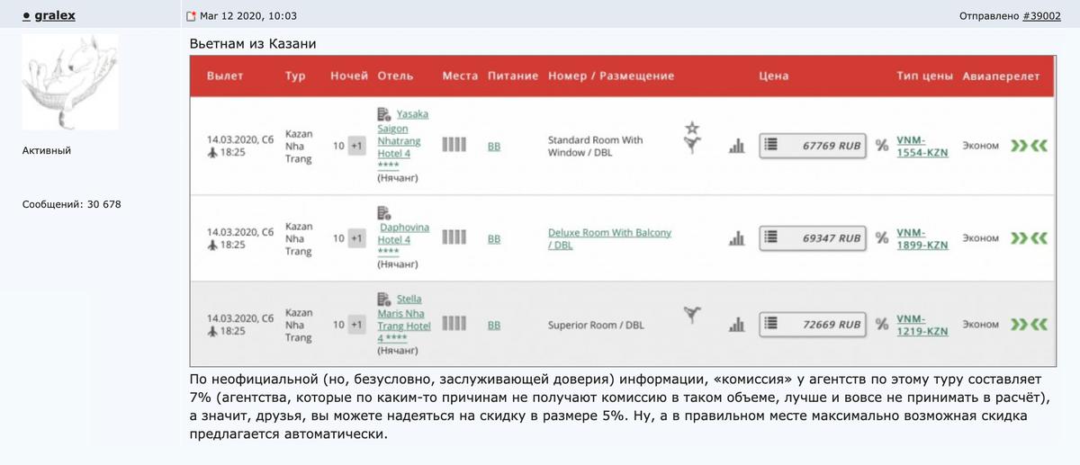 Турагент, через которого мы обычно покупаем туры, выкладывает интересные предложения на чебоксарском городском форуме, по умолчанию делает скидки всем своим клиентам и честно говорит, что себе оставляет 2% комиссии от тура.
