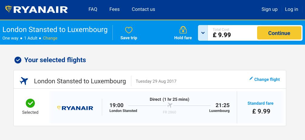 Билет в Люксембург из Лондона лоукостером «Райнэйр» за 756<span class=ruble>Р</span> в одну сторону