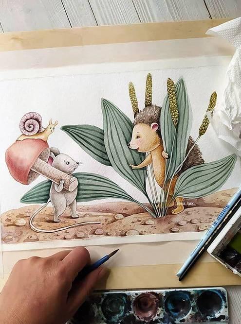 Иллюстрации длякниги художница рисовала на плотной бумаге с содержанием хлопка. Источник: «Инстаграм»