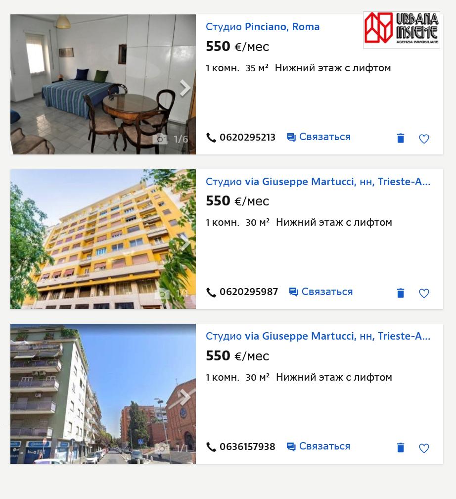 В благополучном районе Париоли за 500—600€ в месяц можно снять только студию площадью 20—25 м². Источник: Idealista