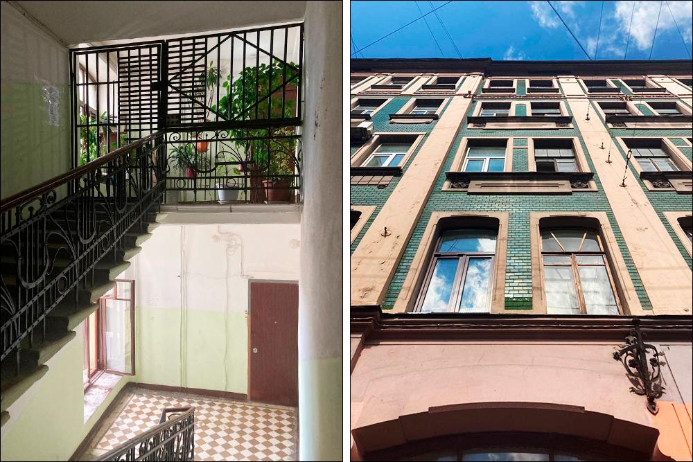 Средний проспект, вид на окна нашей квартиры. Парадная тут утопала в зелени