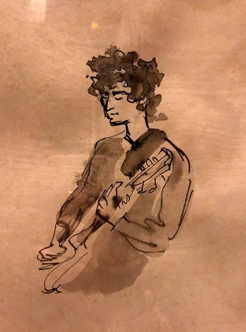 В джаз-баре висят такие зарисовки и эскизы