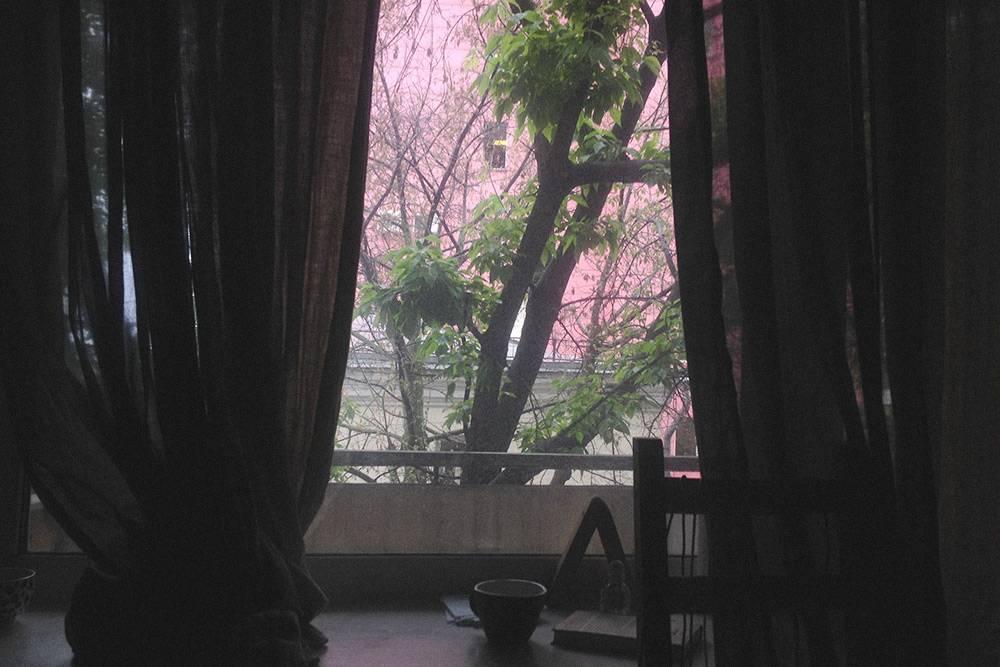 Вид из окна моей квартиры. Всегда умиляло розовое здание за окном. Недавно узнала, что это главное управление МВД