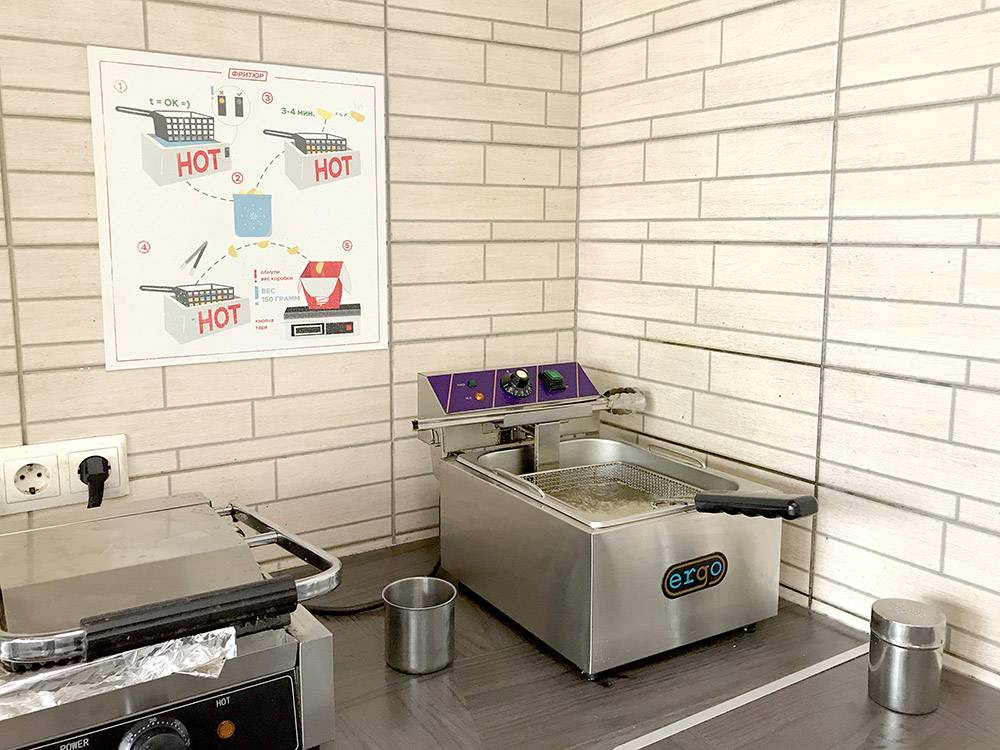 На кухне используют пресс-гриль для хлеба и фритюрницу