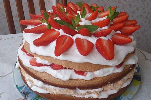 Фото пирога с индейкой я, к сожалению, не сделала, но нашла фотографию тортика с клубникой, взбитыми сливками и меренгой, который готовила в прошлые выходные