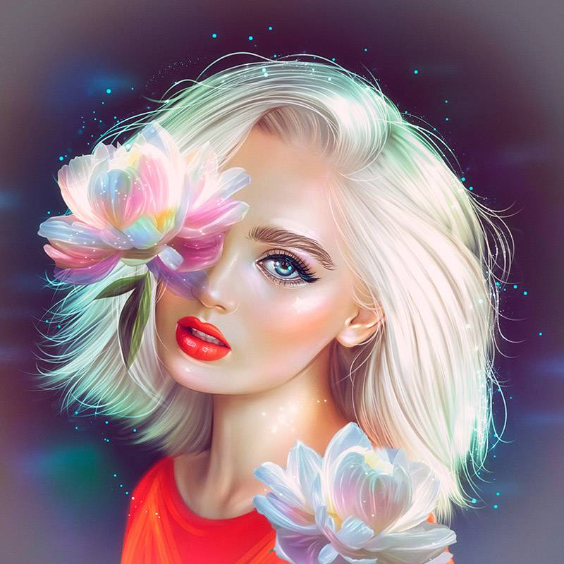 Диджитал-арт «Девушка-пион». Эту работу я делала дляконкурса «Хуманизация растений» на сайте Creativo, но не успела. Вот и появился повод закончить