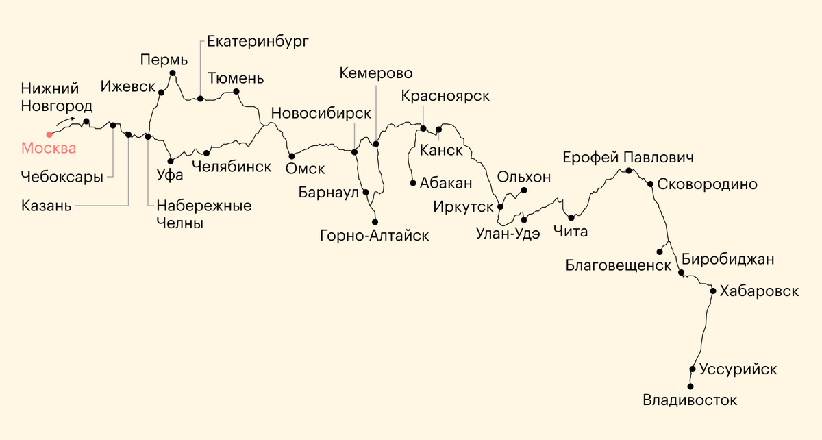 Карта моего путешествия Москва — Владивосток — Москва