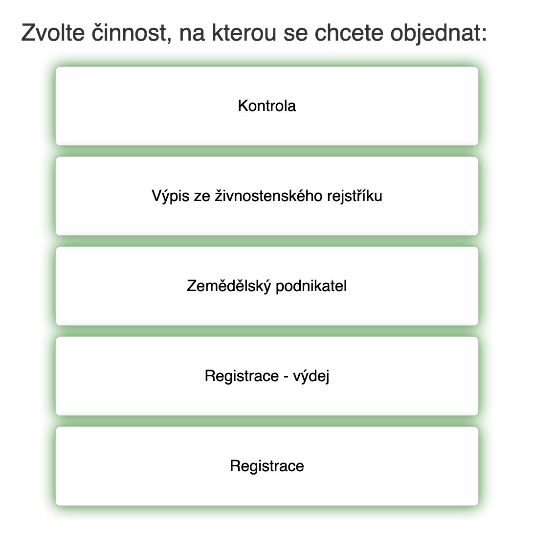 Так выглядит электронная запись в ведомстве. Сверху вниз: «Контроль», «Выписка из регистра», «Аграрный предприниматель», «Регистрация — выдача», «Регистрация»