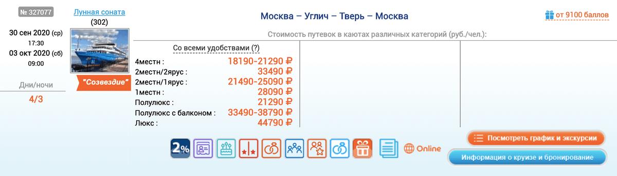 Осенью 2020&nbsp;года можно съездить по маршруту Москва — Углич — Тверь — Москва. Билеты стоят от 17 490<span class=ruble>Р</span>