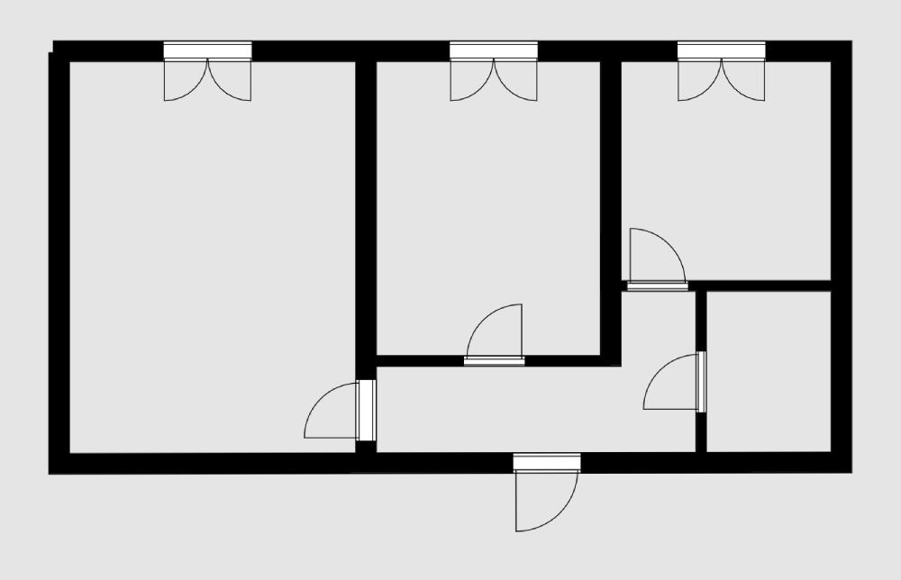В панельном доме все стены, даже между комнатами, несущие. Демонтировать или перенести можно только стену между маленькой комнатой и коридором и стены на кухне и в санузле