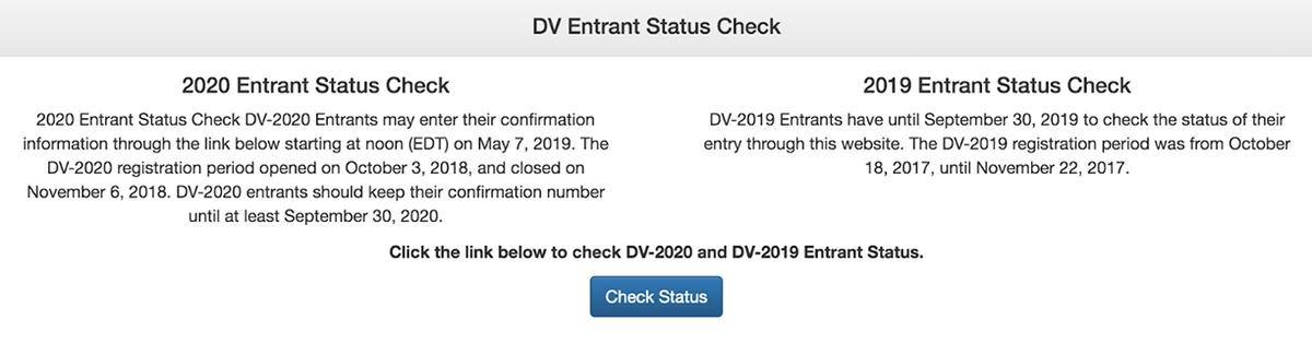 Проверить можно результаты последних двух лотерей. Осенью 2019 года, например, результаты DV-2019 и DV-2020