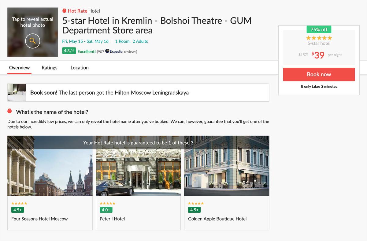 Номер в пятизвездочном отеле у Красной площади можно забронировать за 39$ (3003<span class=ruble>Р</span>). Название неизвестно, но сервис гарантирует, что это будет Four Seasons, «Петр I» или Golden Apple — сейчас он называется Chekhoff
