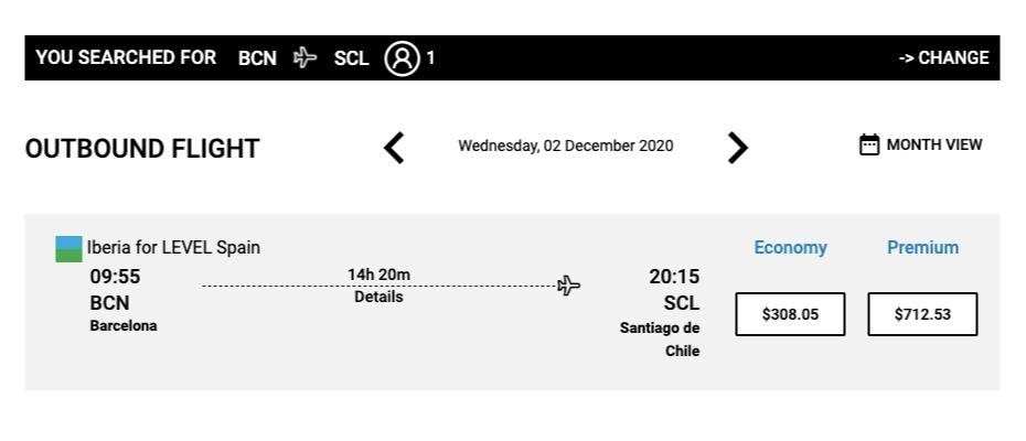 Перелет из Барселоны в Сантьяго лоукостером «Левел» на начало декабря стоит 305$ (21 071<span class=ruble>Р</span>)
