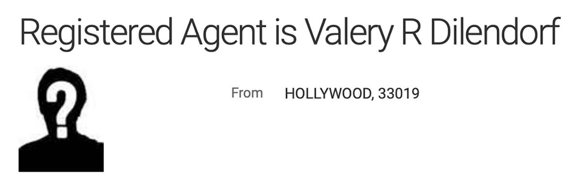 Фрагмент записи о VIARDI LLC из американского торгового реестра. Как зарегистрированный агент указан Валерий Р. Дилендорф, а не Ричард Дилендорф. Кто же этот человек на самом деле?