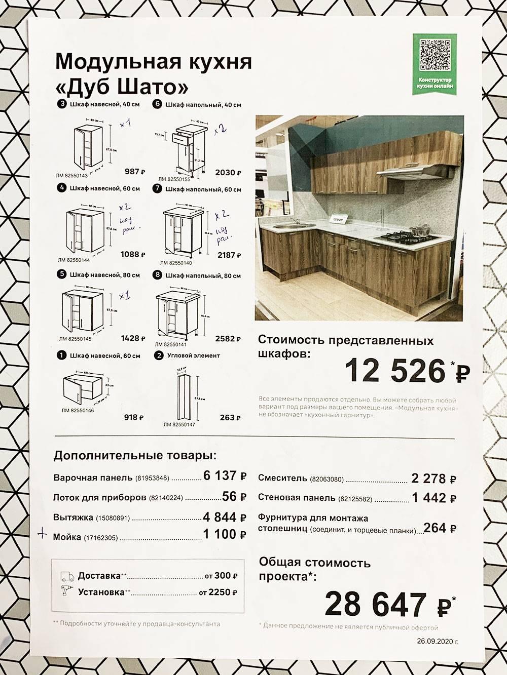 Цены на разные виды шкафов для&nbsp;гарнитура, который нам понравился. Мы собрали комплект на 13 025<span class=ruble>Р</span>