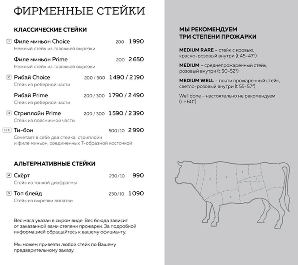 Стейки в «Вине и мясе» стоят от 1500<span class=ruble>Р</span> за 200&nbsp;г