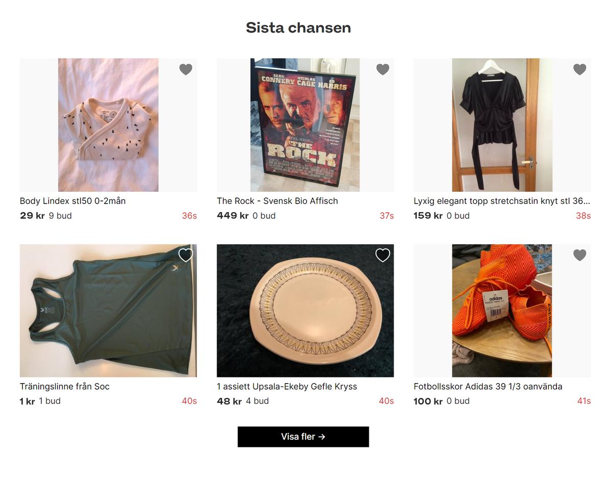 На Tradera покупают и продают вещи с помощью аукциона