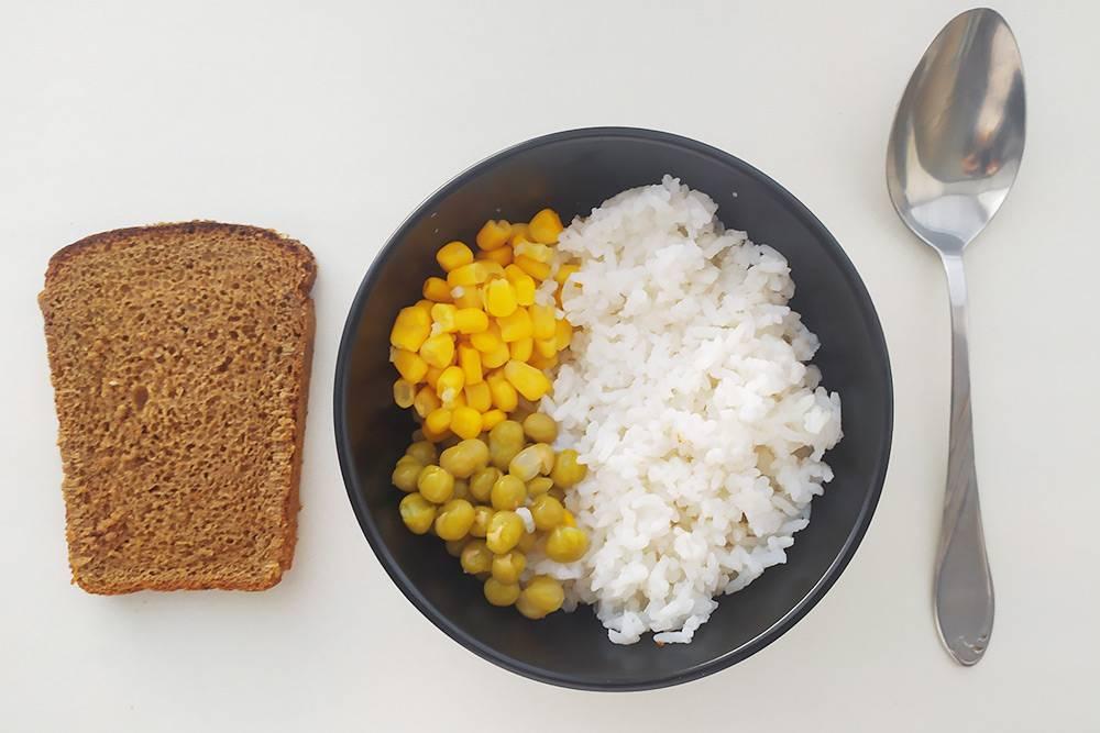 Рис, хлеб, кукуруза, горошек. Порой мое питание было чересчур строгим