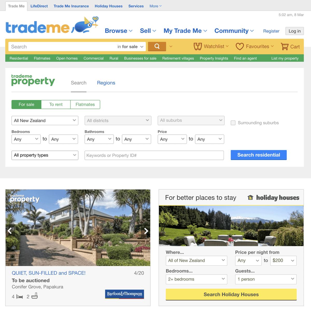 Главный сайт объявлений в Новой Зеландии — «Трейд-ми». Тут все ищут и продают что угодно. Для жилья есть отдельный большой раздел