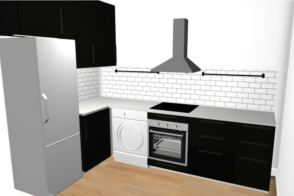 Так выглядел вариант нашей кухни, который мы составили сдизайнером из«Икеи» в2019году. Мы тогда только формировали свои пожелания ккухне, так что ручки здесь обычные. Машинка наиллюстрации незакрыта, но мыпланировали установить дверцу