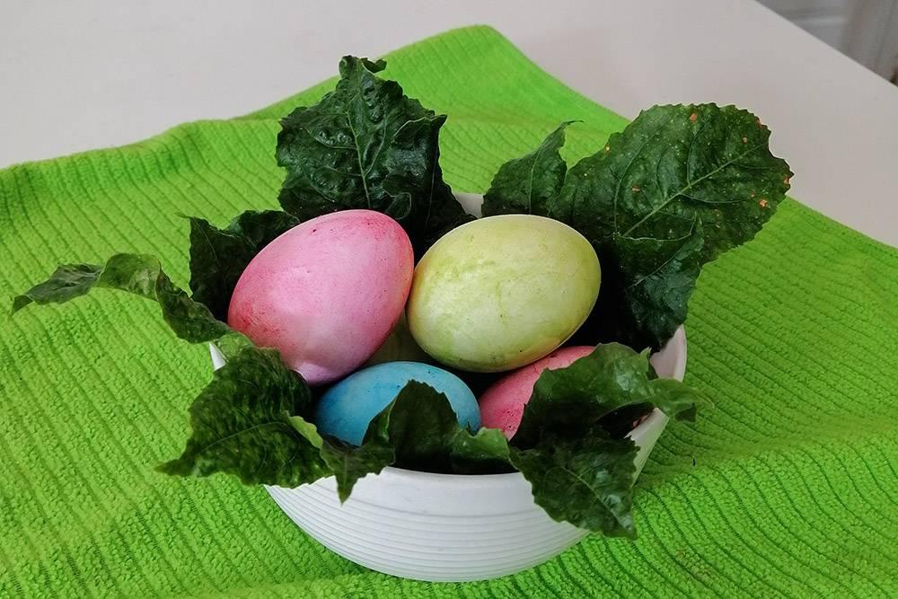 Я красила яйца обычной акварелью, а листья дляукрашения оторвала от маракуйи на заборе