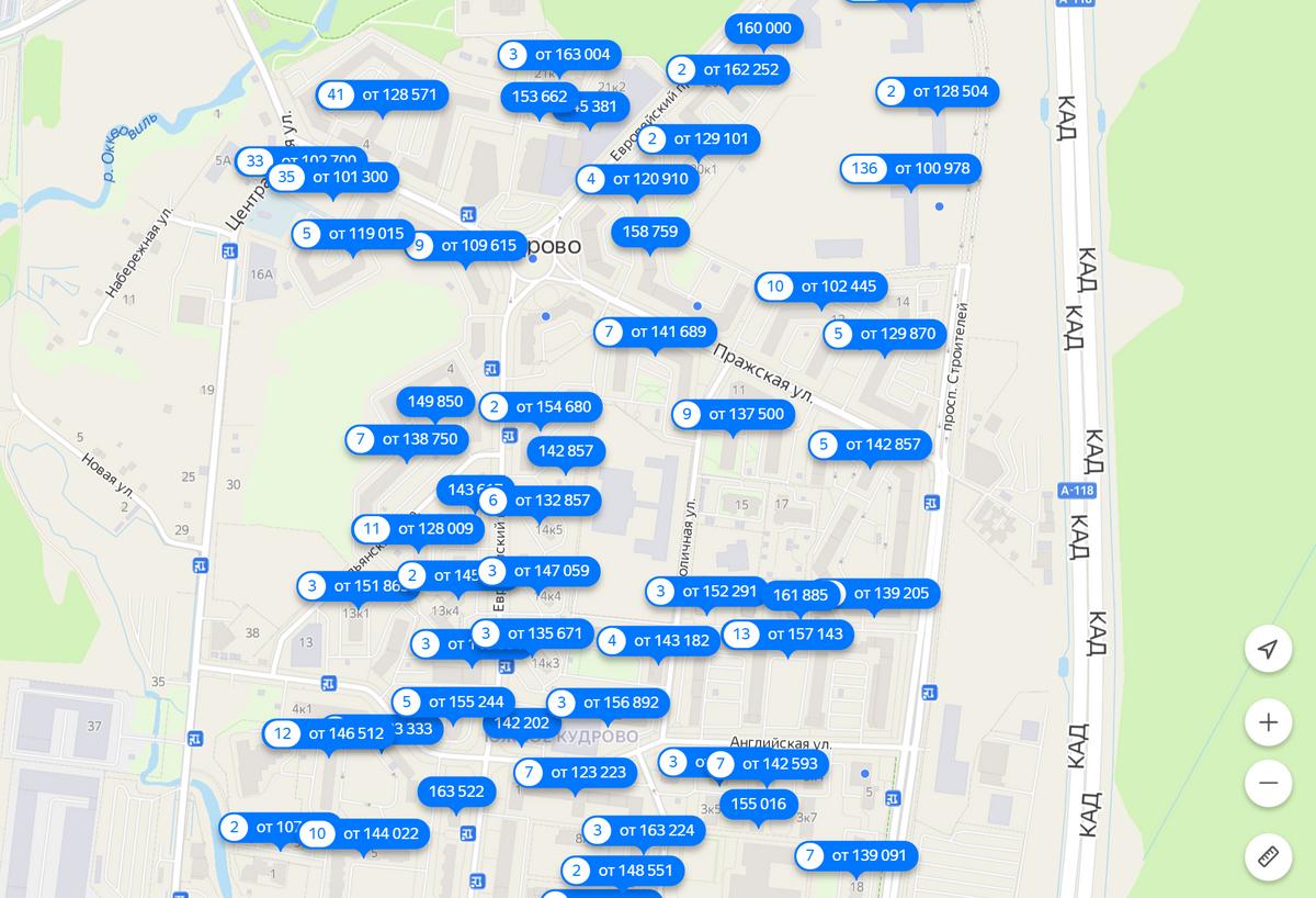 Стоимость квадратного метра в Кудрове. Источник: «Яндекс-недвижимость»
