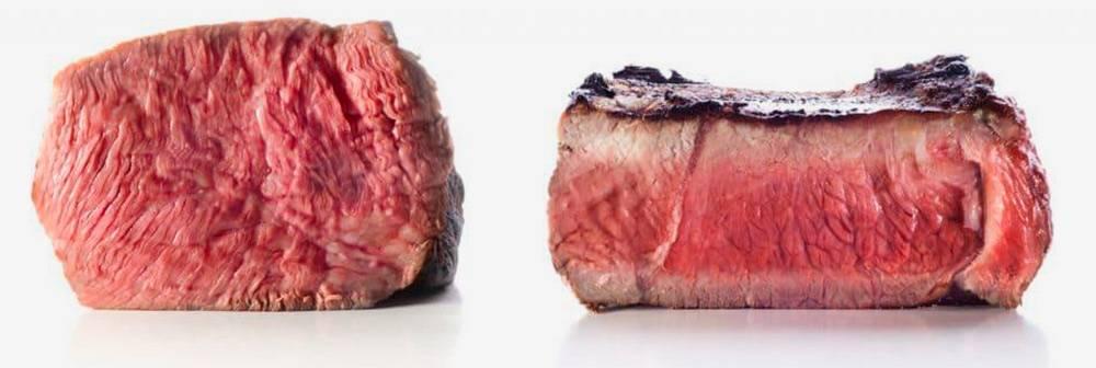 Слева — мясо после су-вида, сочное и розовое от края до края. Справа — после запекания в духовке оно уменьшилось в объеме, а розовая мякоть осталась только в центре. Источник: Sous Vide Wizard